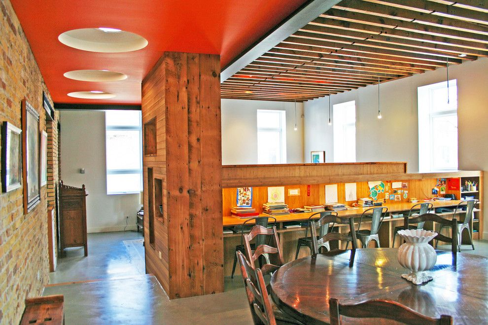 Electric Schoolhouse for a Industrial Dining Room with a Artwork and Homework Desks by Sullivan, Goulette & Wilson Ltd. Architects
