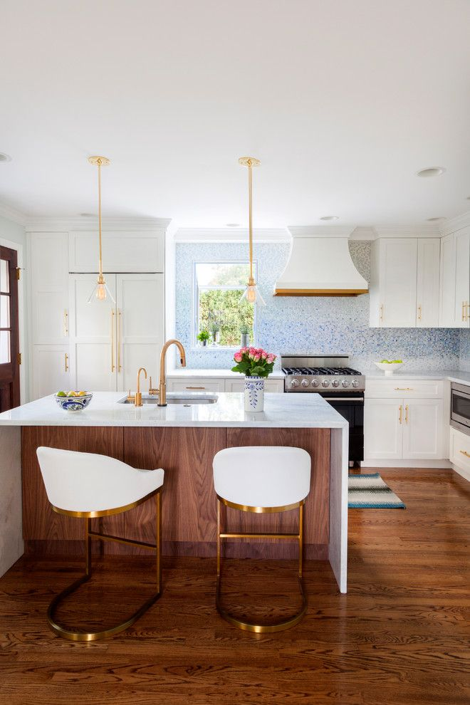Electric Schoolhouse for a Transitional Kitchen with a Custom Hood and Havertown Petite Kitchen by Design Manifest