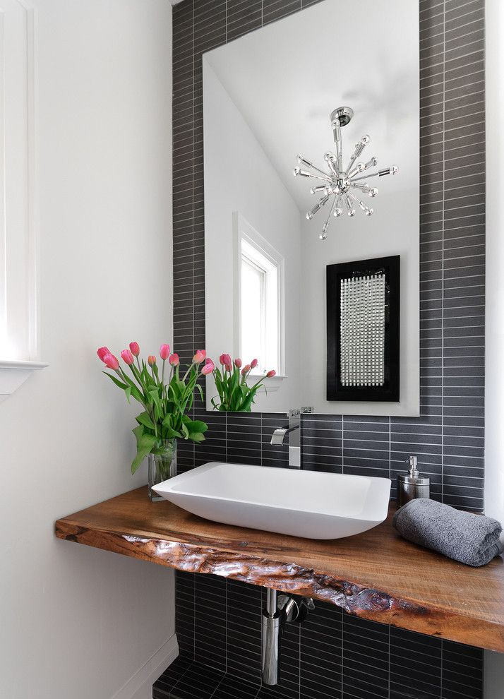 Eleganza Tile for a Contemporary Powder Room with a Modern Sink and Powder Room by Jodie Rosen Design