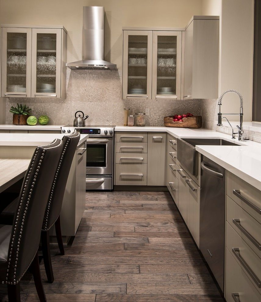 Eleganza Tile for a Transitional Kitchen with a Off White Cabinets and Clark Residence by Identity Construction