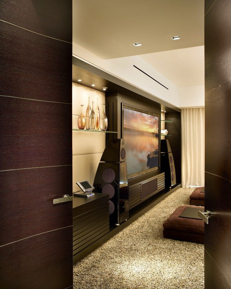 Elk Grove Theater for a Contemporary Home Theater with a Aventura and Kundalini   New York   Miami   Modern Interior Designer   Pepecalderindesign by Pepe Calderin Design  Modern Interior Design