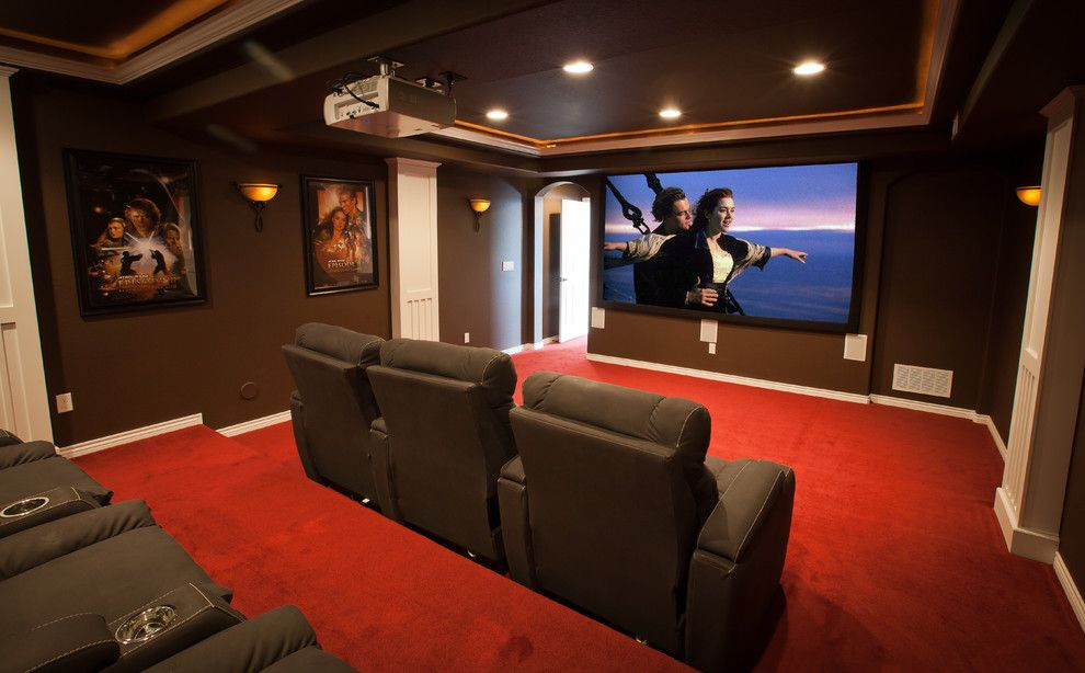 Elk Grove Theater for a Contemporary Home Theater with a Contemporary and Elkstone Theater in a Finished Basement by Elkstone
