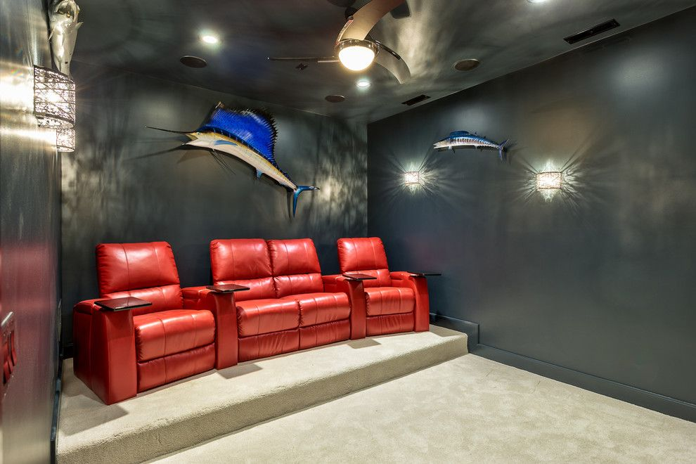 Elk Grove Theater for a Contemporary Home Theater with a Sconce and Grayhawke on Display by Glennwood Custom Builders (Nc)