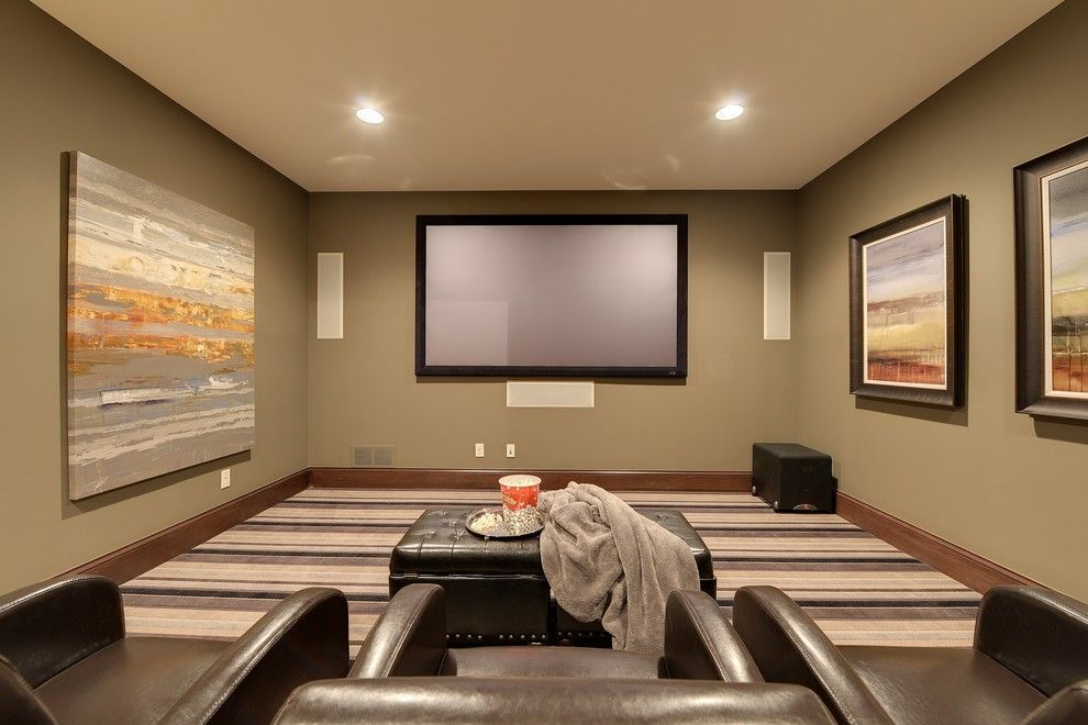 Elk Grove Theater for a Traditional Home Theater with a Framed Art and 2013 Luxury Home Inver Grove Heights by Highmark Builders