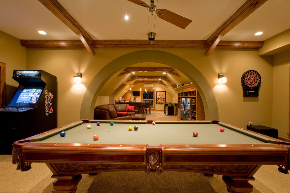 Elk River Theater for a Traditional Basement with a Pool Table and Pulaski Carriage House by Murphy & Co. Design