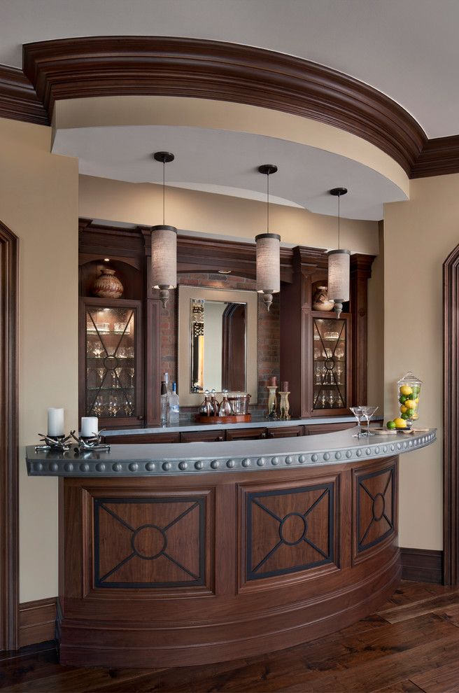 Elk River Theater for a Traditional Home Bar with a Curved Bar and Cranbrook Custom Home   Custom Home by Cranbrook Custom Homes