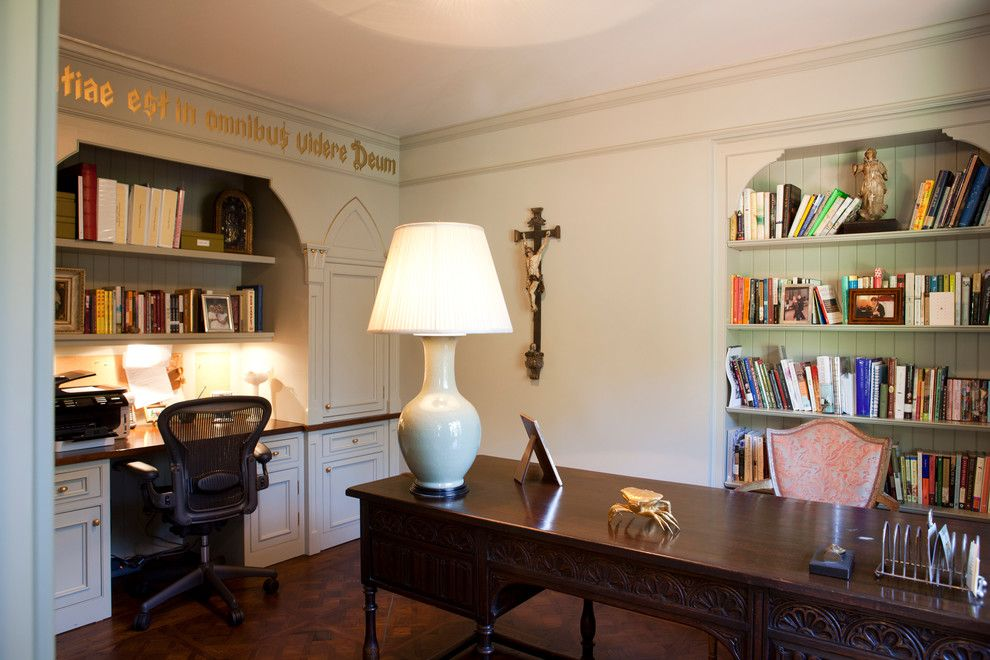 Ellsworth Ford for a Traditional Home Office with a Home Office and Ladies Office Tucked Away in a Tudor Home by Ellsworth Ford Associates