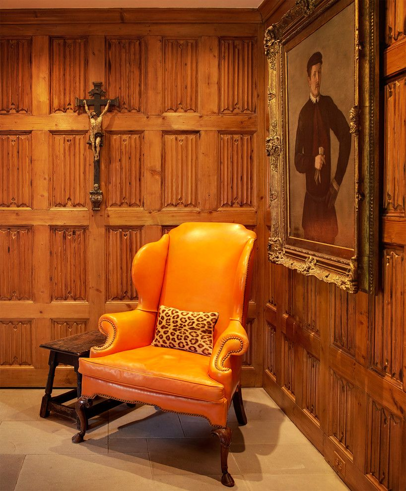 Ellsworth Ford for a Traditional Spaces with a Foyer and Greenwich Tudor 19th Century Irish Wing Chair in Edelman Leather, 16th Century C by Ellsworth Ford Associates