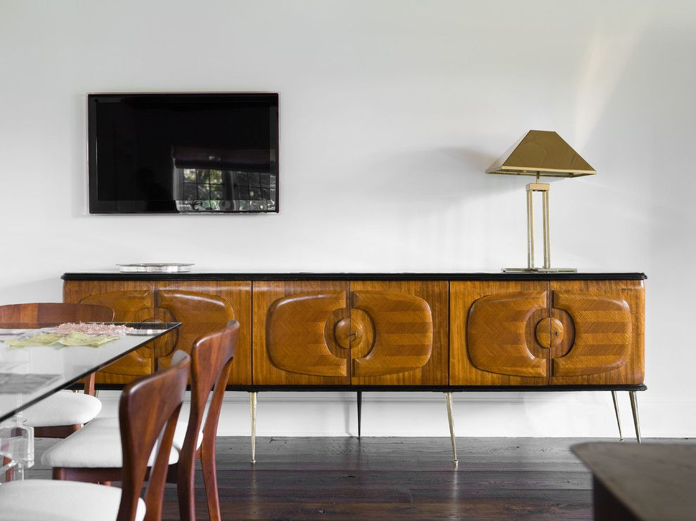 Ellsworth Ford for a Transitional Home Office with a Home Office and an Italian Mid Century Console Provides Ample Storage and is Beautiful to Boot by Ellsworth Ford Associates