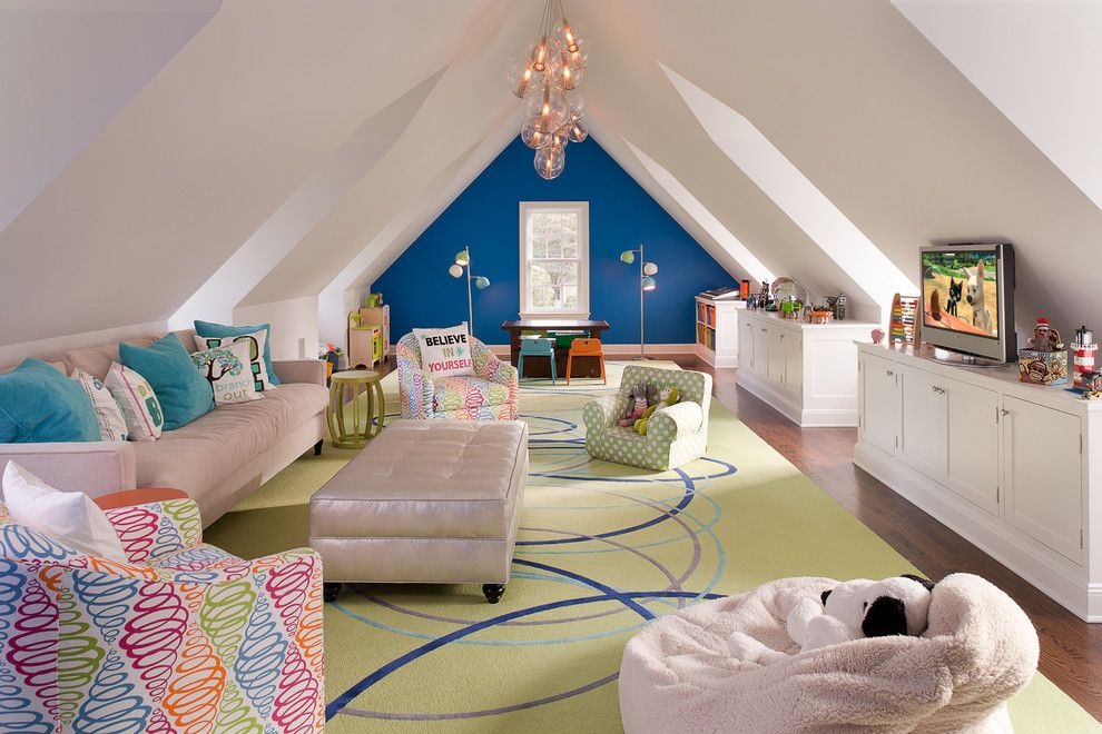Ellsworth Ford for a Transitional Kids with a Beige Tufted Ottoman and Connecticut Classic by Daniel Conlon Architects