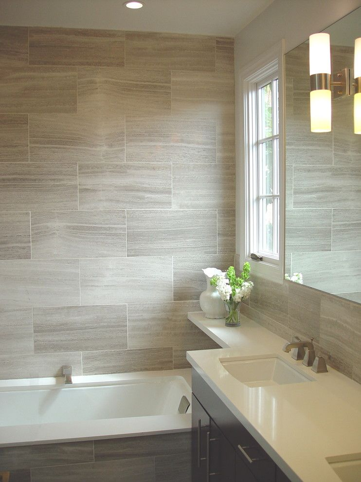 Emser Tile for a Contemporary Bathroom with a Small Bathroom Sink and Pacific Heights Mediterranean by Mike Connell