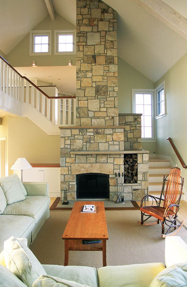 Environmental Stoneworks for a Beach Style Living Room with a Coastal and Cape Cod House by Boehm Architecture
