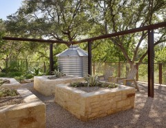 Environmental Stoneworks for a Mediterranean Landscape with a Steel Beams and Scenic by Root Design Company.com