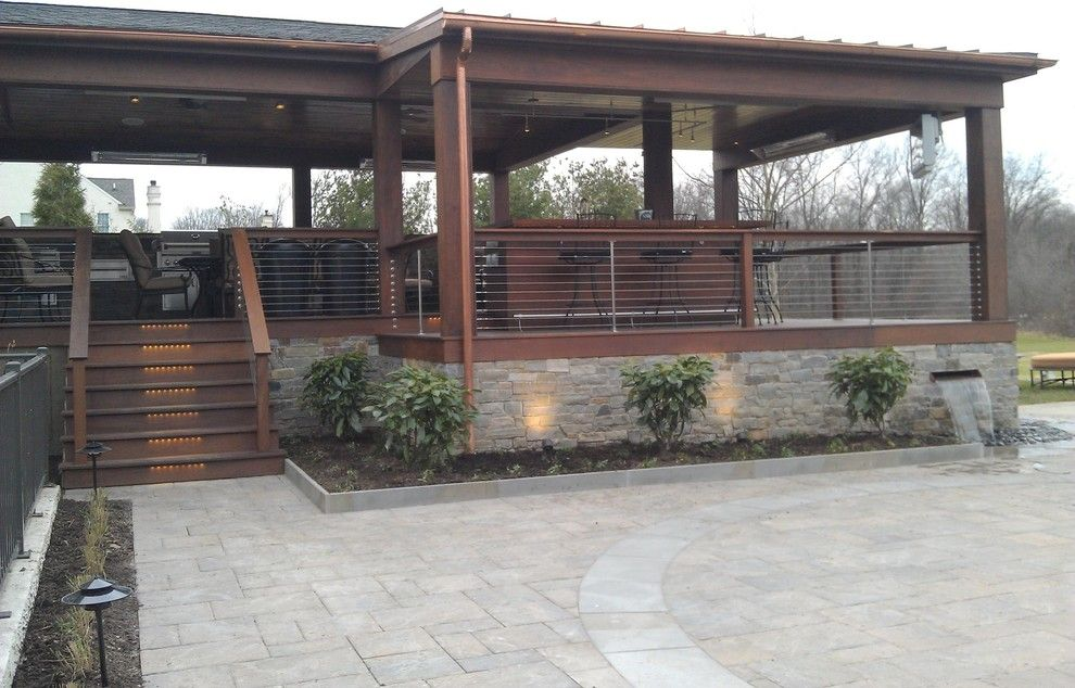 Environmental Stoneworks for a Modern Porch with a Deck and Modern/contemporary Deck and Bar by Environmental Landscape Associates