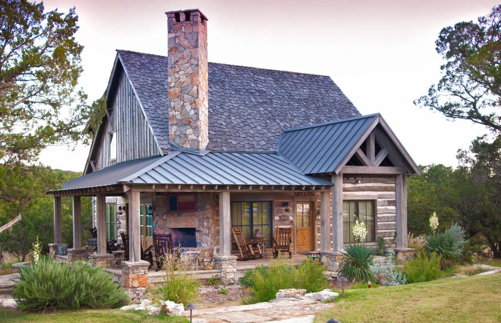 Eplans for a Rustic Exterior with a Perennial Planting and Texas Vacation Cabin by Trestlewood