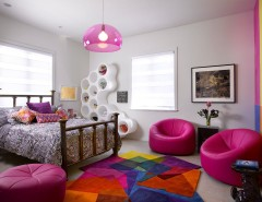 Esf Furniture for a Contemporary Kids with a Gray Carpet and Teenage Girl's Bedroom by Hollub Homes