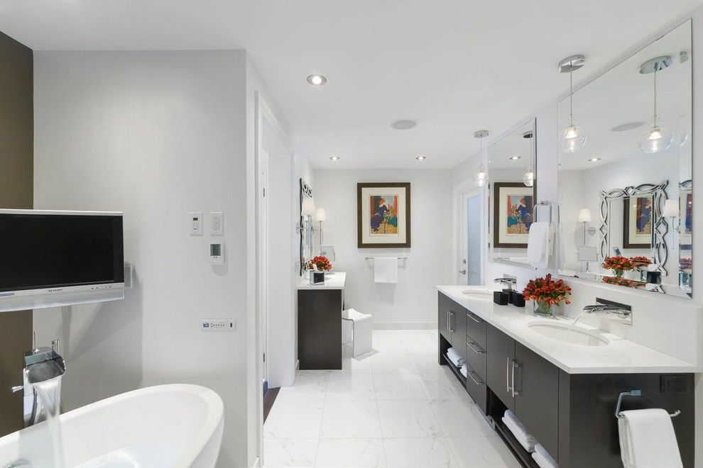 Eureka Lighting for a Contemporary Bathroom with a Beautiful Bathroom and Stunning Bathroom Renovations by Astro Design   Ottawa by Astro Design Centre