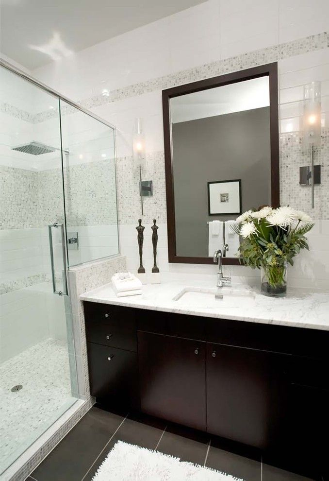 Eureka Lighting for a Contemporary Bathroom with a Tilework and T Eatons Loft Bathroom by Atmosphere Interior Design Inc.