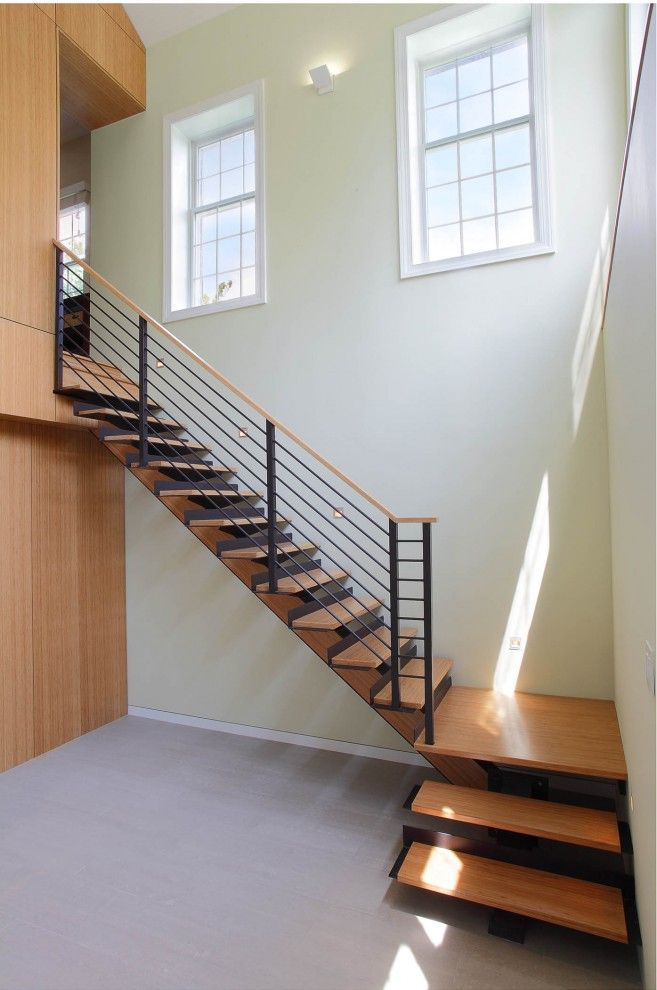 Eureka Lighting for a Contemporary Staircase with a Warm Wood and Westchester, Ny by Eisner Design Llc