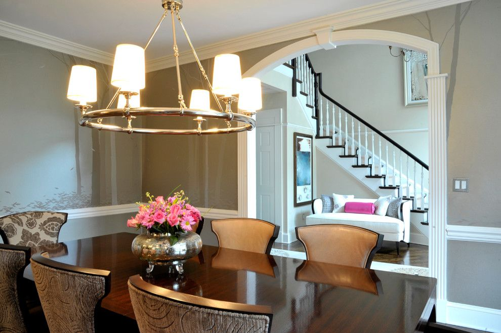 Eureka Lighting for a Transitional Dining Room with a Custom Window Treatments and Ny Estate by a Perfect Placement