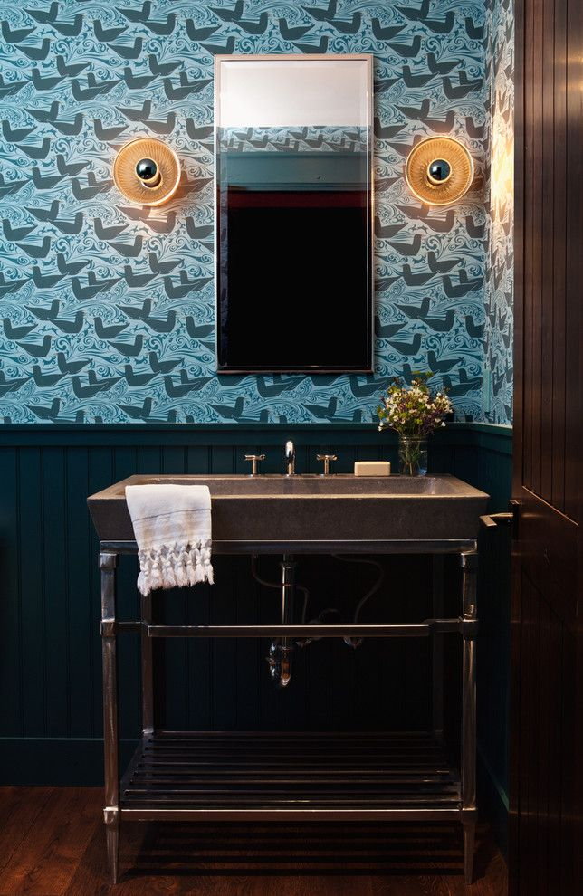 Eureka Lighting for a Transitional Powder Room with a Blue Wallpaper and Palmer Weiss Interior Design, Martis Camp Tahoe by Michele Lee Willson Photography