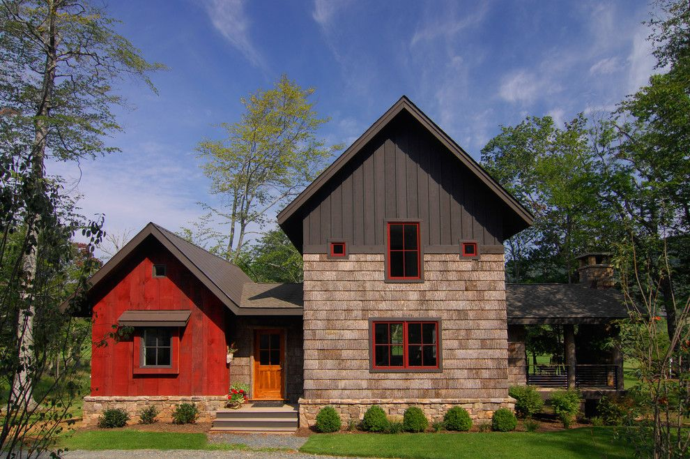 Extech Building Materials for a Rustic Exterior with a Red Flowers and Bark House Shingle Siding and Reclaimed Barnwood Siding by Christopher Kellie Design Inc.