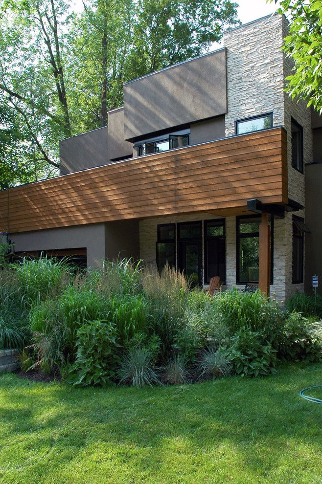 Exterior Color Schemes For A Contemporary Landscape With A Stone Siding And  Marshall Residence By Michael