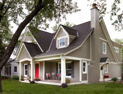 Exterior Color Schemes for a Traditional Exterior with a Red Front Door and Minikahda Vista Cape Cod by Fluidesign Studio