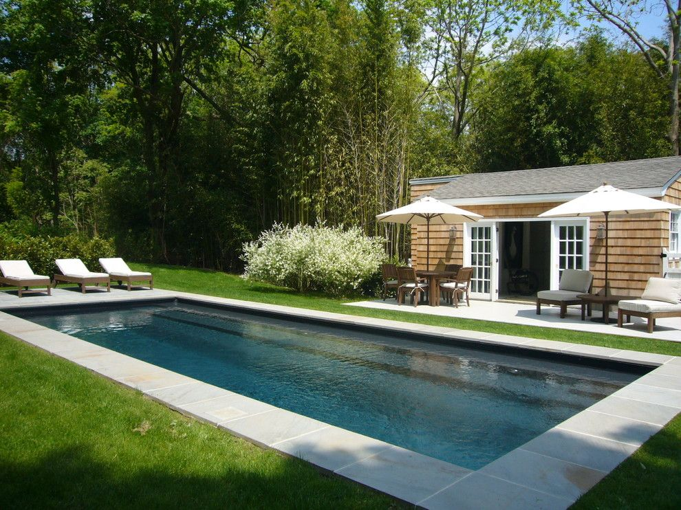 Fairway Lawns for a Beach Style Pool with a Pool Stairs and Shelter Island Fisherman's Cottage by Schappacherwhite Architecture D.p.c.