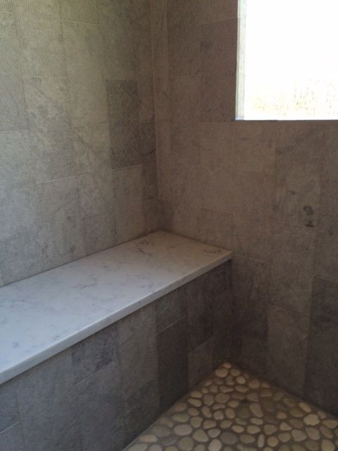 Fallingwater for a Transitional Bathroom with a Mosaic Shower Seat and Ballantyne Country Club Master Bath Remodel by Fallingwater, Llc