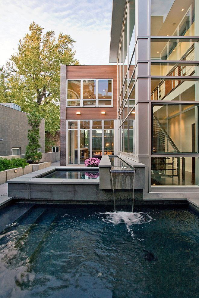 Fallingwater House for a Modern Pool with a Window and Cortland Residence by Nicholas Design Collaborative