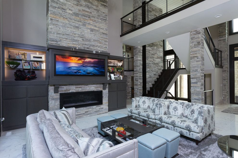 Family Leisure Indianapolis for a Contemporary Living Room with a Gray and Living Rooms by Christopher Scott Homes