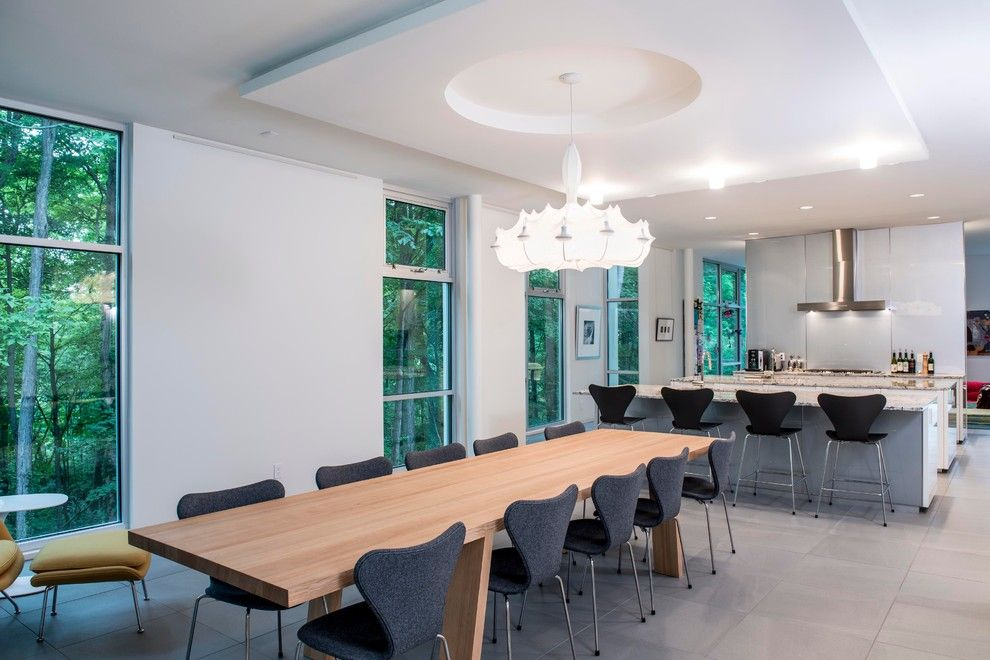 Family Leisure Indianapolis for a Modern Dining Room with a White Chandelier and Scenic by David Rausch Studio