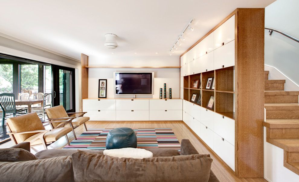 Family Leisure Indianapolis for a Scandinavian Living Room with a Custom Made and Media Center by Haus   Architecture for Modern Lifestyles