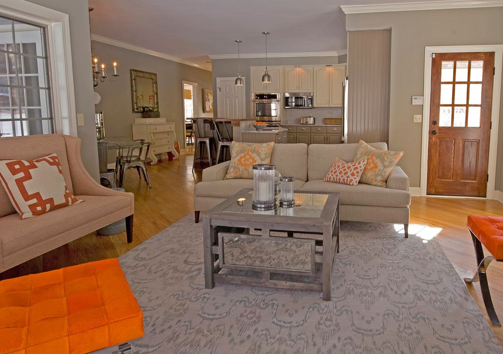 Family Leisure Indianapolis for a Transitional Living Room with a Orange and Family Room by K. D. Ellis Interiors