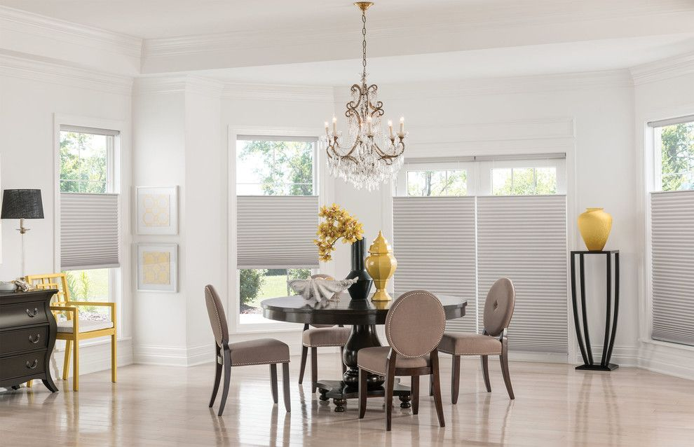 Fansedge Promo Code for a Contemporary Dining Room with a Drapery and Shades by Budget Blinds