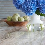 Fantasy Brown Granite for a Beach Style Spaces with a Blue Tile and Nantucket Sophisticate by Threshold Interiors