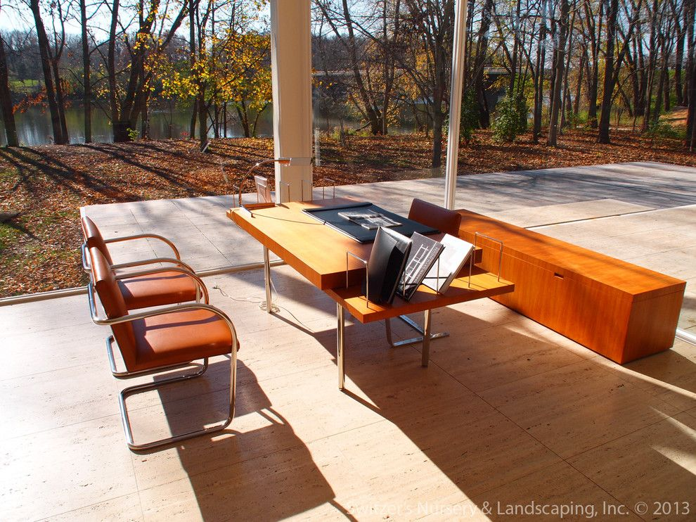 Farnsworth House for a Modern Home Office with a Modern and Influential Architecture ~ the Edith Farnsworth House by Switzer's Nursery & Landscaping, Inc.
