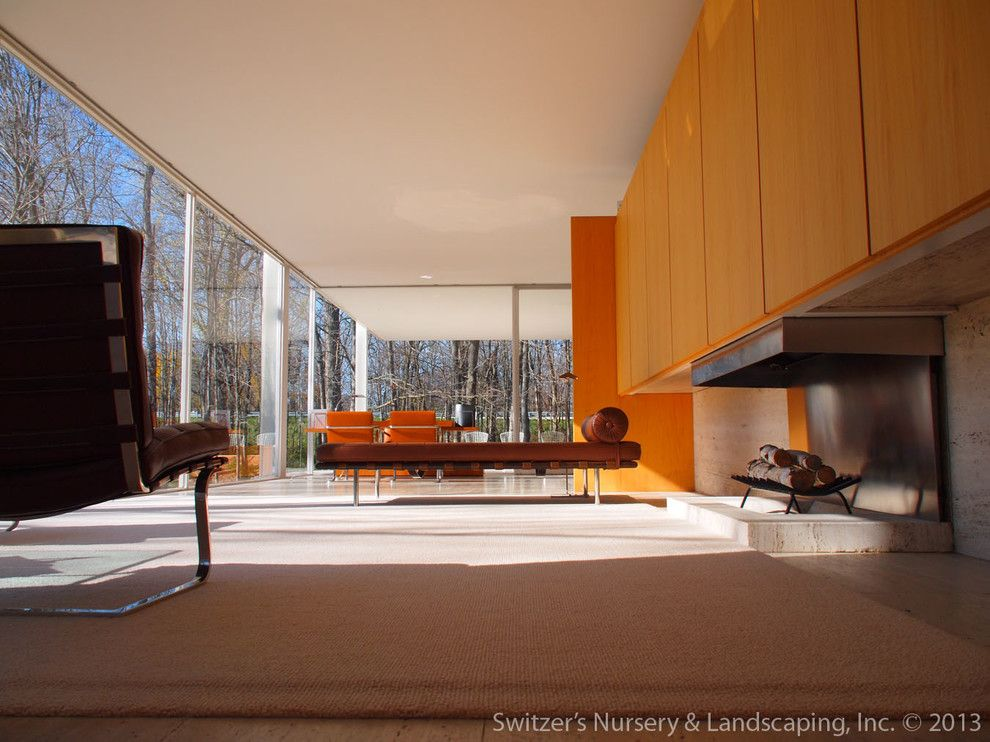 Farnsworth House for a Modern Living Room with a Glenn Switzer and Influential Architecture ~ the Edith Farnsworth House by Switzer's Nursery & Landscaping, Inc.