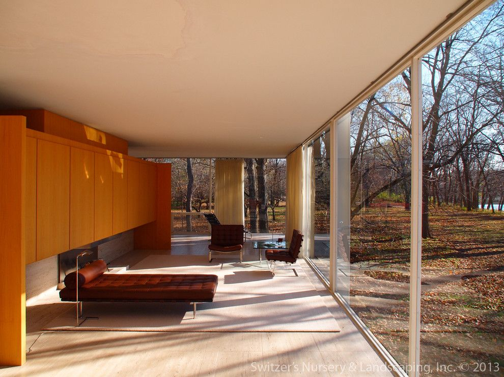 Farnsworth House for a Modern Living Room with a Meis Van Der Rohe and Influential Architecture ~ the Edith Farnsworth House by Switzer's Nursery & Landscaping, Inc.