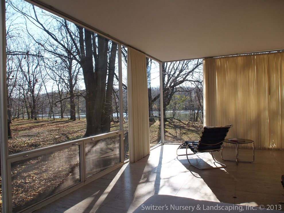Farnsworth House for a Modern Living Room with a Modern and Influential Architecture ~ the Edith Farnsworth House by Switzer's Nursery & Landscaping, Inc.