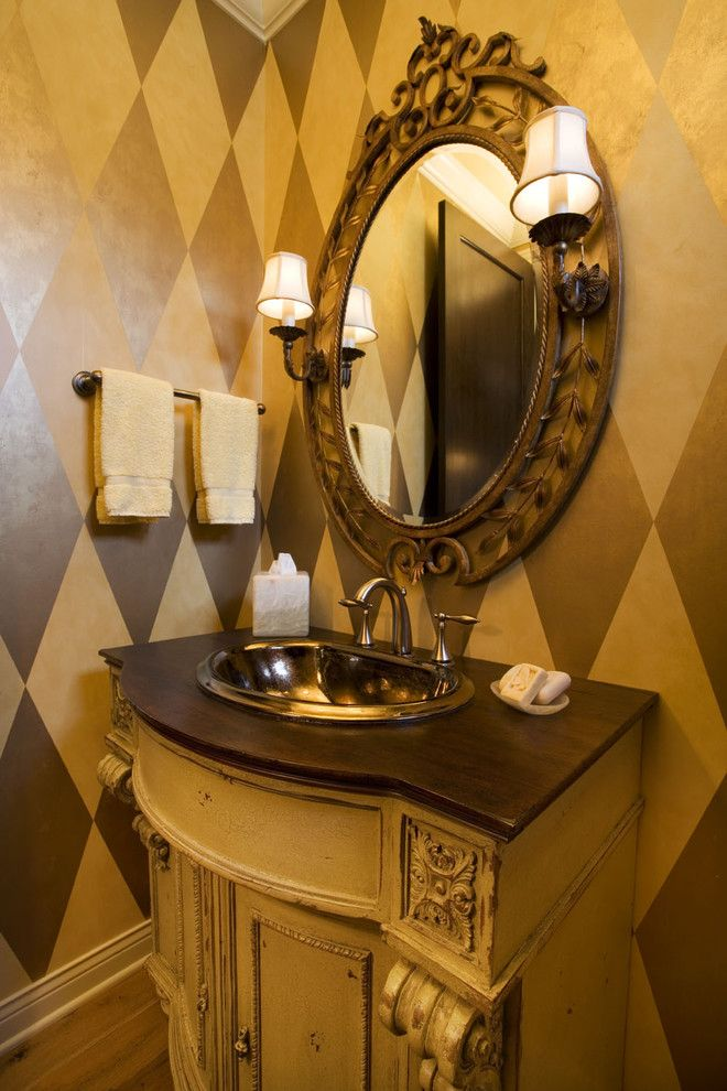 Faux Painting Techniques for a Eclectic Powder Room with a Eclectic and Powder Room by Designs!   Susan Hoffman Interior Designs