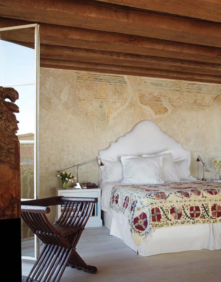Faux Painting Techniques for a Mediterranean Bedroom with a Exposed Beams and Fresco Bedroom by Ila Designs   the Fine Art of Classic Fresco