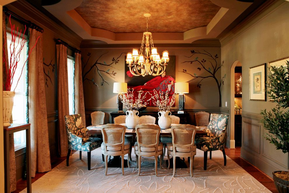 Faux Painting Techniques for a Traditional Dining Room with a Ceiling Treatment and Eclectic Interiors by Kerri Robusto Interiors