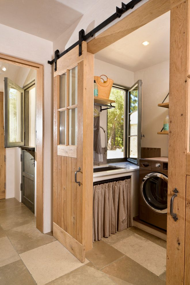 Feather River Doors for a Mediterranean Laundry Room with a Dutch Door and Woodside Estate by Fgy Architects