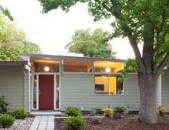 Feather River Doors for a Midcentury Exterior with a Red Door and 32. Small 1950s Eichler Expansion by Klopf Architecture