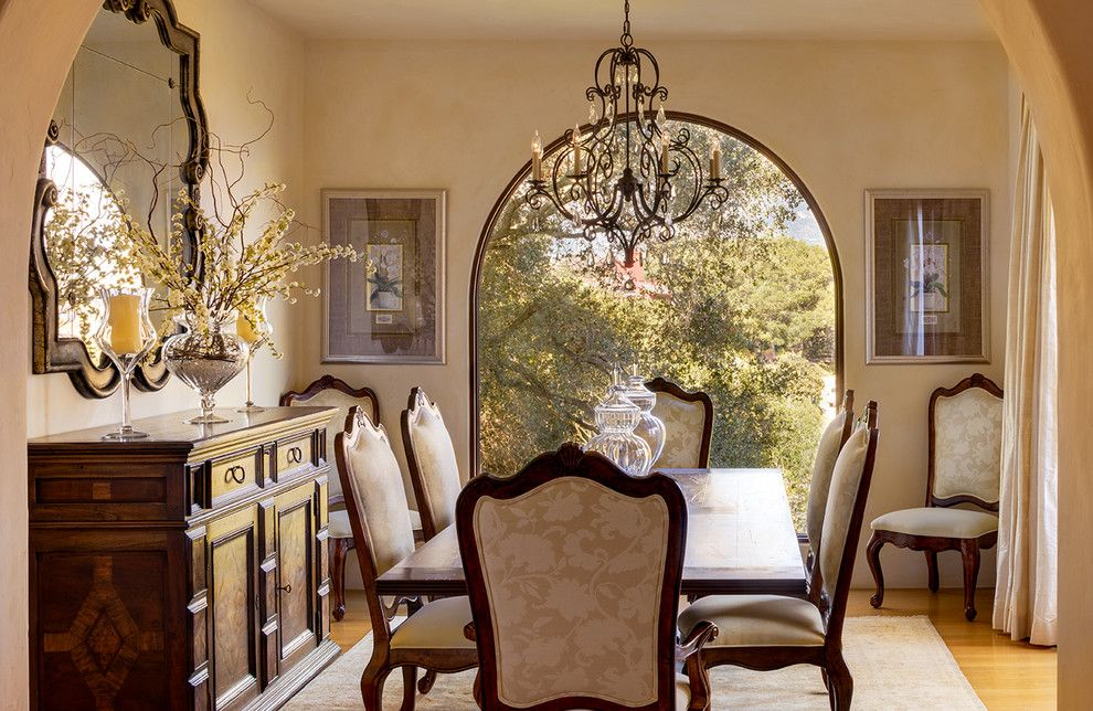 Feiss for a Mediterranean Dining Room with a Monochromatic and Santa Barbara, California by Debra Lynn Henno Design