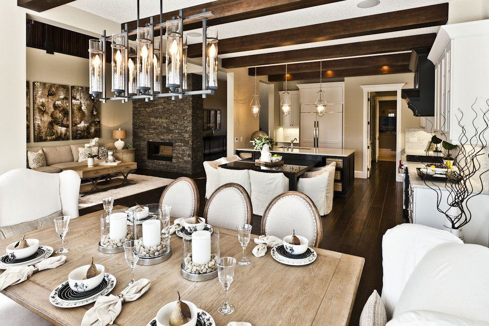 Feiss for a Rustic Dining Room with a Open Kitchen and Lottery Home 2011 - the Mackenzie by Marcson Homes Ltd.