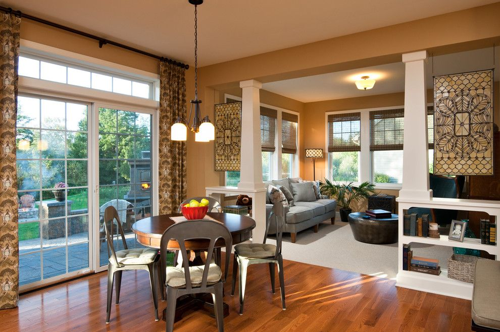 Feiss for a Traditional Dining Room with a Wood Columns and 2012 Saratoga Showcase Home by Belmonte Builders