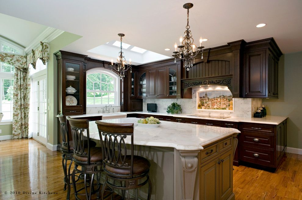 Feiss for a Traditional Kitchen with a Barstools and Divine Kitchens Llc by Divine Design+Build